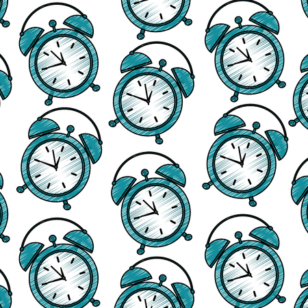 seamless pattern clock alarm wake up vector illustration