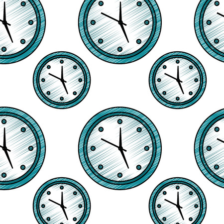 Round clock time hour seamless pattern design vector illustration Illustration
