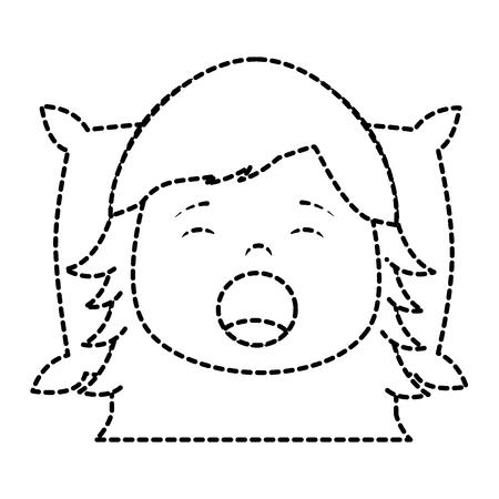 枕ベクトルイラストステッカーイメージデザインに頭であくびをする小さな女の子  イラスト・ベクター素材