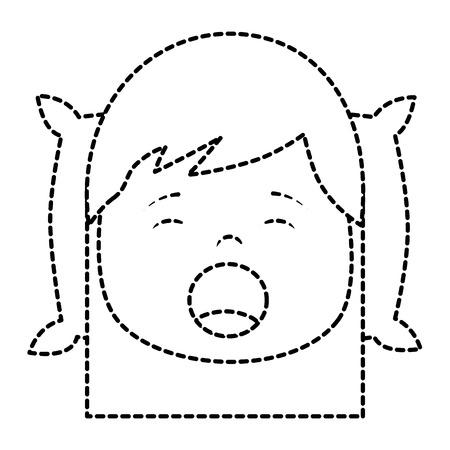 little girl yawning with head on pillow vector illustration sticker image design Иллюстрация