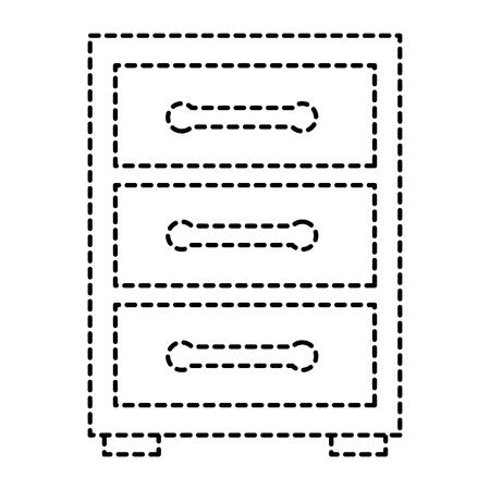 wooden bedside table drawers furniture vector illustration sticker image design