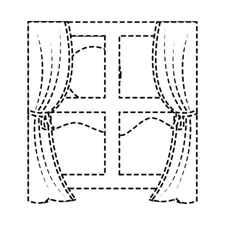 カーテンと太陽の山のベクトルイラストと木製の窓枠。  イラスト・ベクター素材