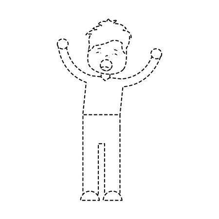 young cartoon boy yawning stretching arms vector illustration. Иллюстрация