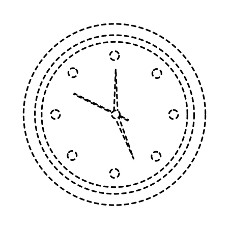 round clock time hour object icon vector illustration sticker image design