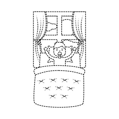 Il ragazzo sveglia con la coperta ed il cuscino con l'illustrazione di vettore di mattina della finestra. Archivio Fotografico - 96057983