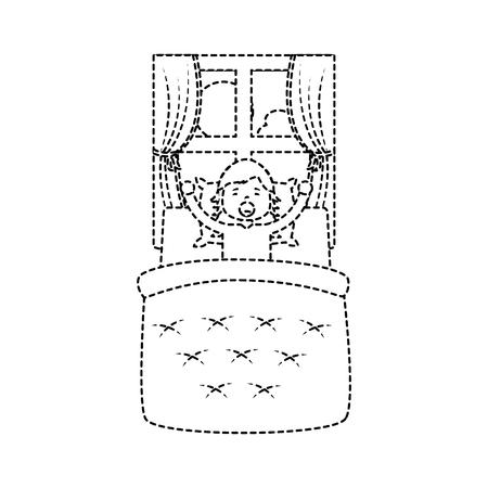 klein meisje wakker in bed en raam landschap vector illustratie.