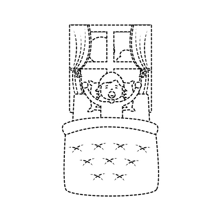 little girl waking up in bed and window landscape vector illustration. Illustration