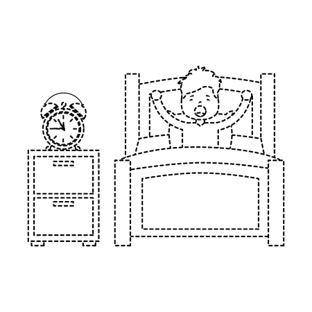 boy wake up stretching in wooden bed with bedside table clock vector illustration.