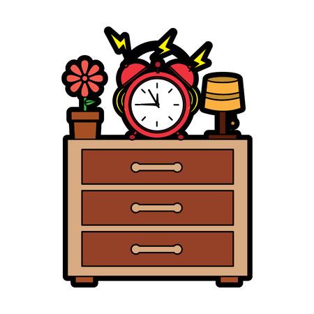 alarm clock ringing on night table icon image vector illustration design Stock Illustratie