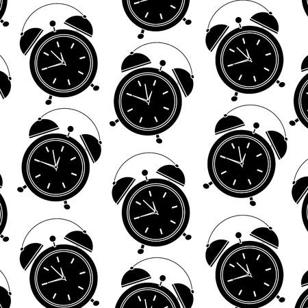 seamless pattern clock alarm wake up vector illustration black image