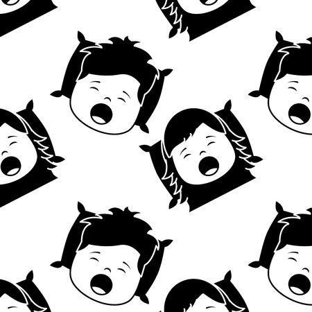 Pattern boy and girl yawning pillow wake up vector illustration black image
