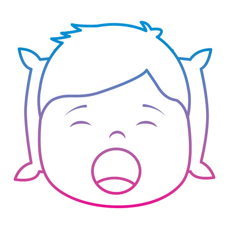 young boy with head in pillow yawning vector illustration