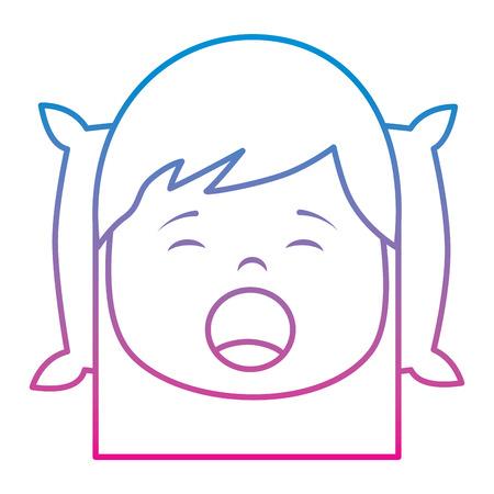 little girl yawning with head on pillow vector illustration Иллюстрация