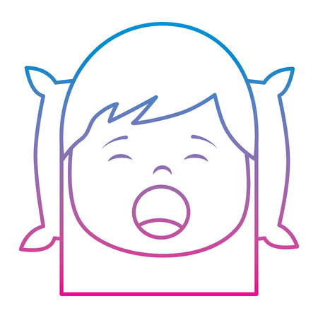 little girl yawning with head on pillow vector illustration Illustration