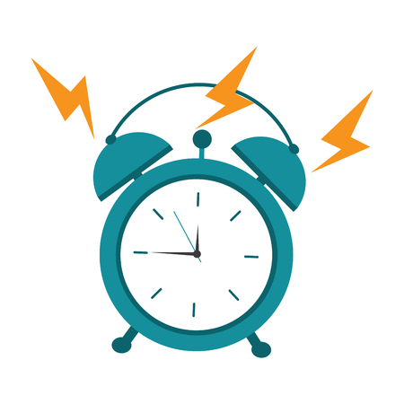 Round clock alarm wake up ring icon vector illustration