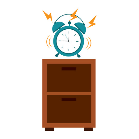 Wooden bedside table clock alarm ring vector illustration Illustration