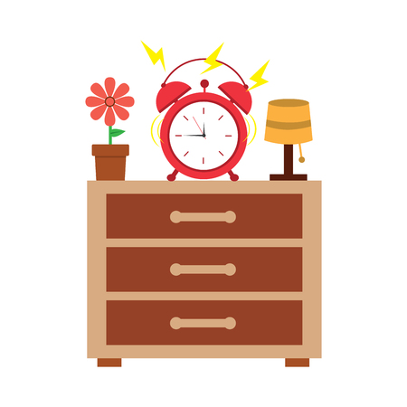 Wooden bedside table clock alarm ring pot flower and lamp vector illustration