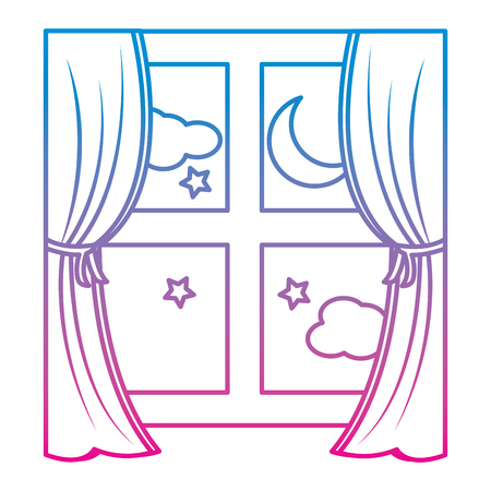 wooden window frame with curtain and night moon stars vector illustration  イラスト・ベクター素材