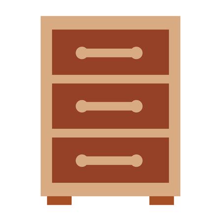 Wooden bedside table drawers furniture vector illustration