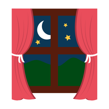 Wooden window frame with curtains and mountains moon stars vector illustration