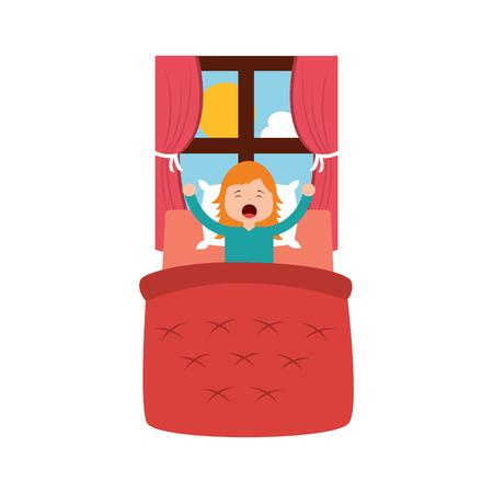 Petite fille se réveiller dans le lit et le rebord du paysage illustration vectorielle Banque d'images - 96061180