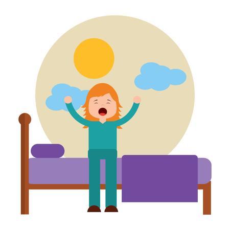 ベッドに座っている若い女の子は、ベクトルのイラストを目覚めストレッチ