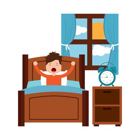 木製のベッドでストレッチをして目を覚ます少年。  イラスト・ベクター素材