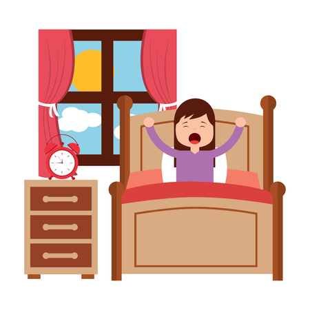 wake up morning the young girl in bed vector illustration Archivio Fotografico - 96061188