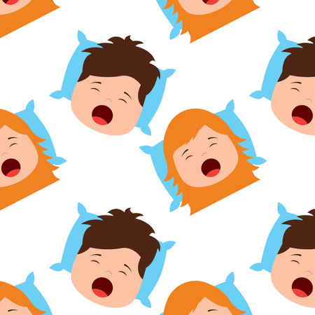Pattern of boy and girl yawning on pillow vector illustration