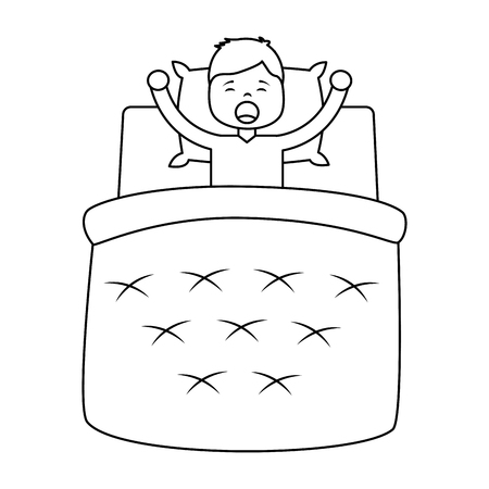 Boy wake up with blanket and pillow vector illustration outline design Illustration