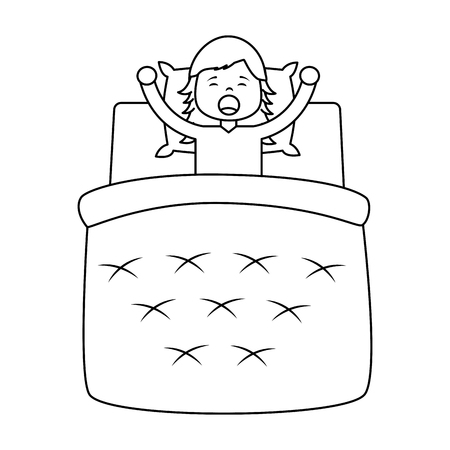little girl waking up with a in blanket and pillow vector illustration outline design 向量圖像