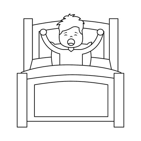 boy wake up stretching in wooden bed vector illustration outline design
