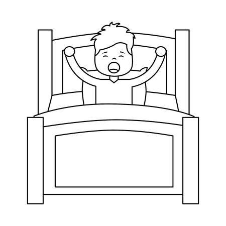 boy wake up stretching in wooden bed vector illustration outline design