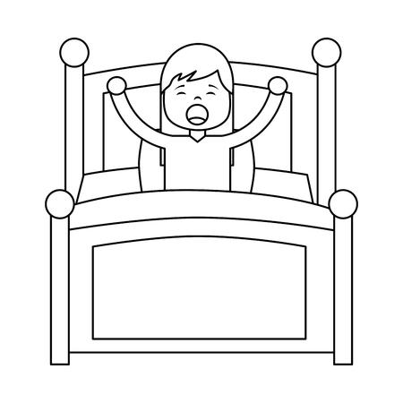 ベッドベクターイラストアウトラインデザインで朝起きる若い女の子