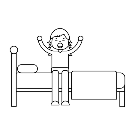 young girl sitting in bed stretching waking up side view vector illustration outline design