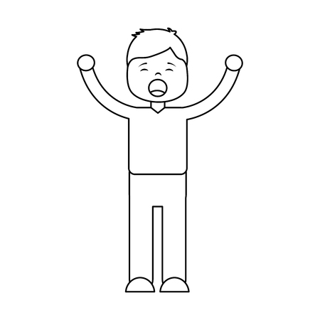 young cartoon boy yawning stretching arms vector illustration outline design