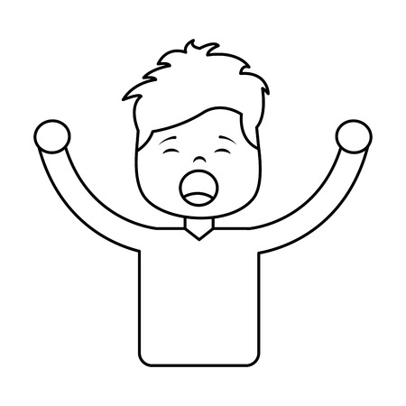 portrait young boy yawning and arms extended vector illustration outline design