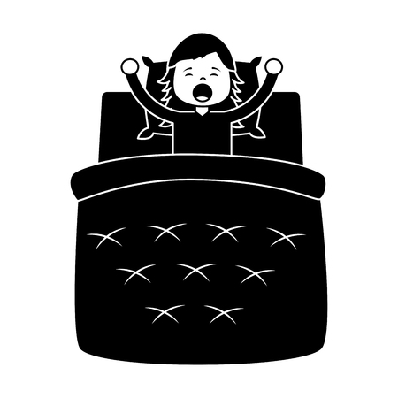 child girl sleeping in their room icon image vector illustration design.