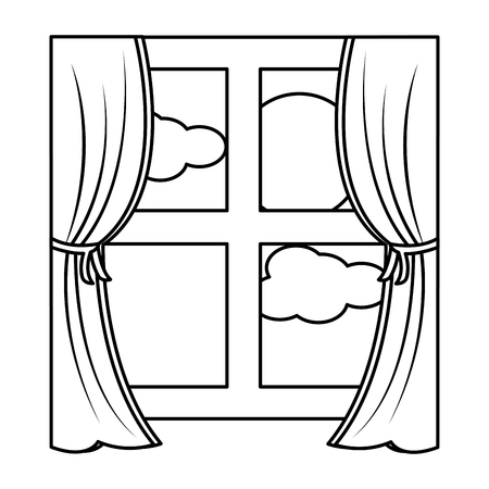 wooden window frame with curtains and sun clouds sky vector illustration outline design