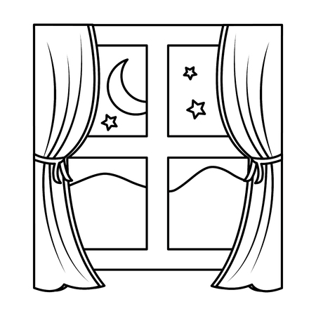 wooden window frame with curtains and mountains moon stars vector illustration outline design