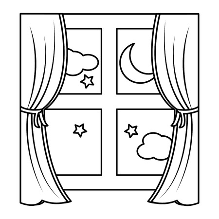wooden window frame with curtain and night moon stars vector illustration outline design Illustration