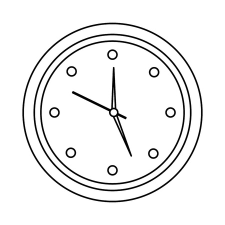 round clock time hour object icon vector illustration outline design