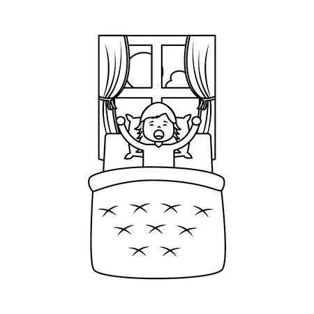 Bambina che sveglia nella progettazione del profilo dell'illustrazione di vettore del paesaggio della finestra e del letto Archivio Fotografico - 96070450