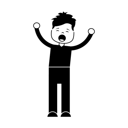 Man screaming icon image vector illustration design black and white Imagens - 96085301