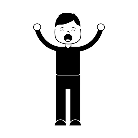 Man screaming icon image vector illustration design black and white Иллюстрация