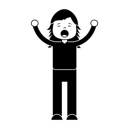 女性絶叫アイコン画像ベクトルイラストデザイン白黒