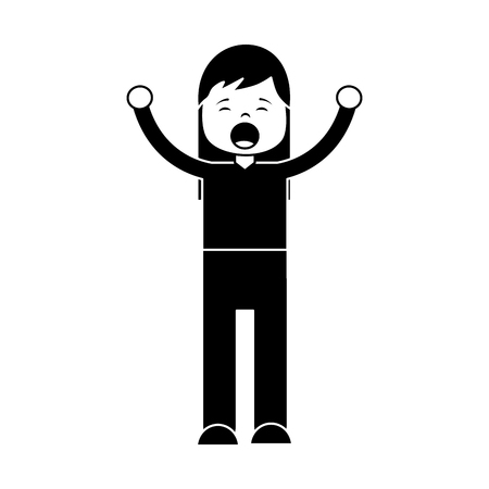 Woman screaming icon image vector illustration design black and white