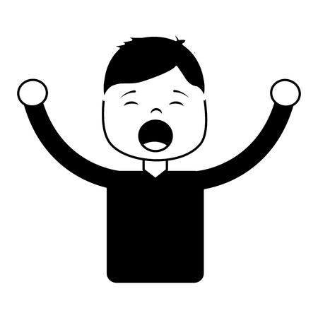 男絶叫アイコン画像ベクトルイラストデザイン白黒