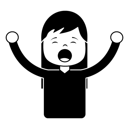 Woman screaming icon image vector illustration design black and white Imagens - 96085310
