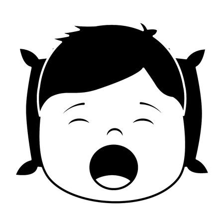 Child boy sleeping on pillow icon image vector illustration design black and white